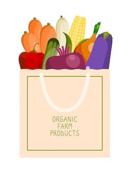 Sacco di carta d'acquisto con l'illustrazione organica delle verdure.