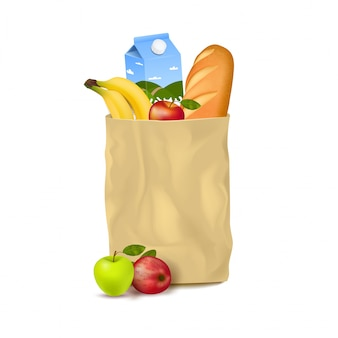Sacco di carta sottile con prodotti da supermercato