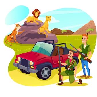 Safari africano per hobby, caccia, tempo libero estivo