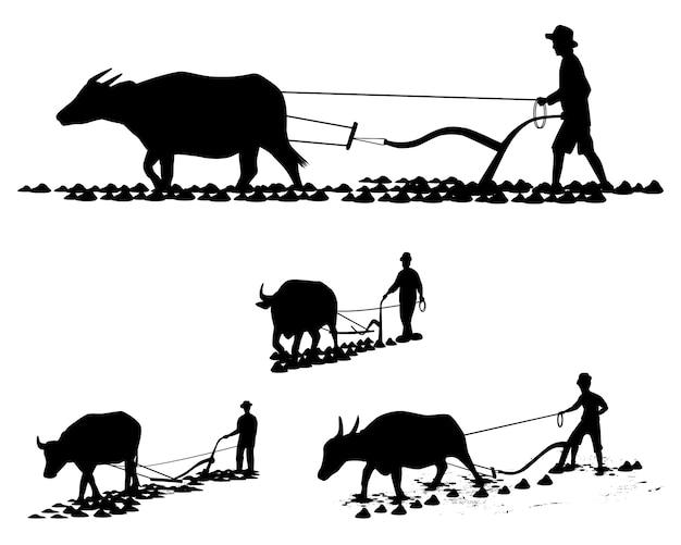 Sagoma contadino aratro disegno vettoriale