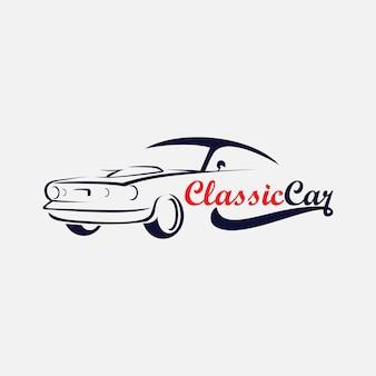 Sagoma dell'icona del logo di auto d'epoca, logo automobilistico