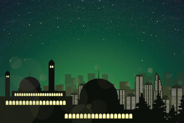 Sagoma della moschea nel cielo notturno stellato