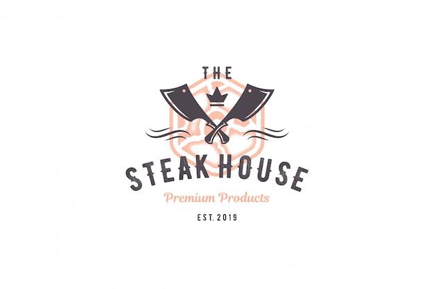 Sagoma di bistecca di carne logo incisione e stile disegnato a mano tipografia moderna vintage.