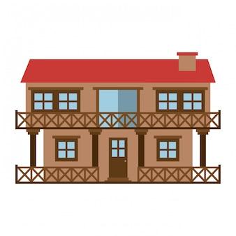 Sagoma di colore chiaro di casa facciata di due piani con balcone e camino
