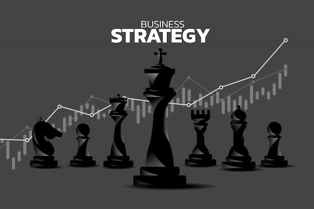 Sagoma di pezzo degli scacchi con sfondo grafico di crescita dei ricavi.