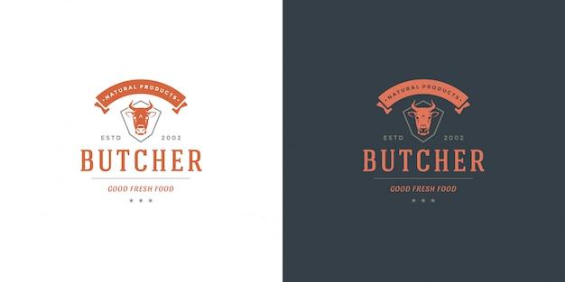 Sagoma di testa di mucca logo negozio di macelleria buono per distintivo fattoria o ristorante