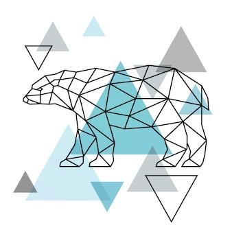 Sagoma geometrica di un orso polare. stile scandinavo.