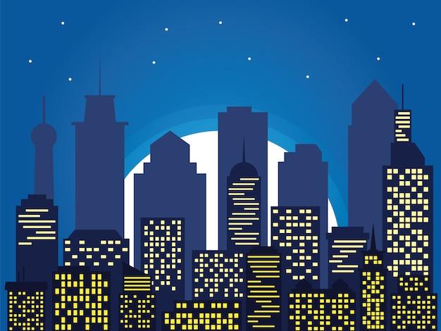 Sagoma notturna della città e la luna piena con le stelle, in stile cartone animato
