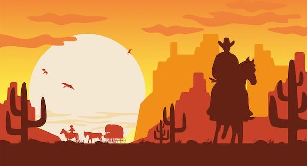 Sagoma paesaggio selvaggio west. cowboy della siluetta sul furgone del cavallo con il cavaliere.