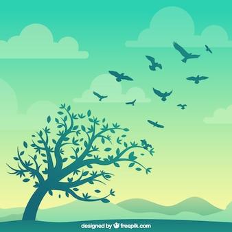 Sagoma sfondo uccello volante