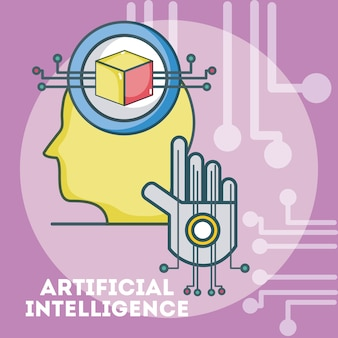 Sagoma testa di intelligenza artificiale