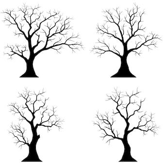 Sagome di alberi su sfondo bianco