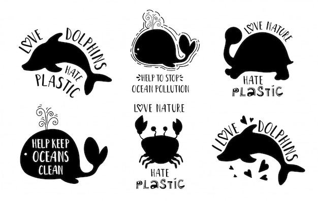 Sagome di animali del mar nero e lettering