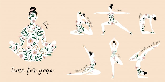 Sagome di donne in piedi in diverse pose yoga decorate con fiori.