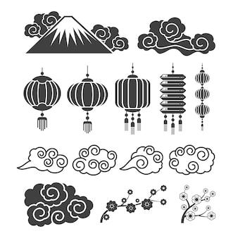 Sagome di elementi asiatici vintage. lampade tradizionali cinesi o giapponesi, fiori, nuvole