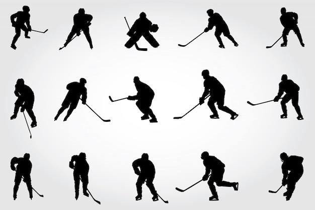 Sagome di giocatori di hockey