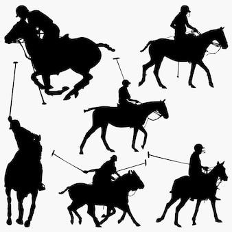 Sagome di giocatori di polo