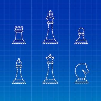 Sagome di pezzi degli scacchi bianchi