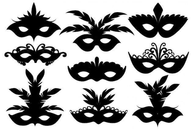 Sagome nere. set di maschere per il viso di carnevale. maschere per la decorazione di feste o travestimenti. maschera con piume. illustrazione su sfondo bianco. pagina del sito web e app per dispositivi mobili