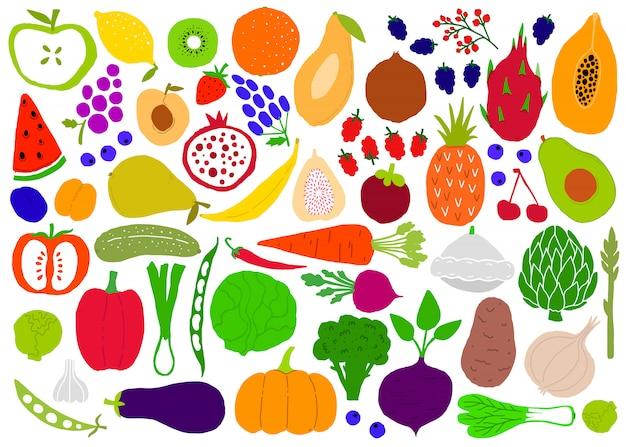 Sagome semplici grandi set ingenui di frutta e verdura.