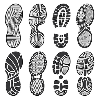 Sagome vettoriali isolato impronta. scarpe sporche e impronte di scarpe da ginnastica