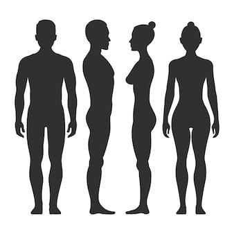 Sagome vettoriali uomo e donna nella parte anteriore e laterale. illustrazione del corpo maschile e femminile illust