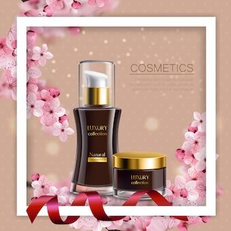 Sakura composizione colorata cornice bianca e realistici vasetti neri con crema cosmetica