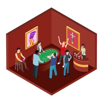 Sala casinò, concetto di gioco d'azzardo isometrico