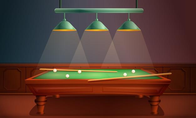 Sala con tavolo da biliardo, illustrazione