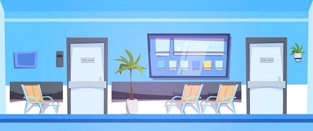 Sala d'attesa dell'ospedale con la sala clinica interna dei posti vuoti