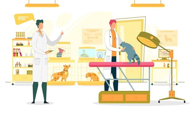 Sala d'esame della clinica veterinaria con medici.