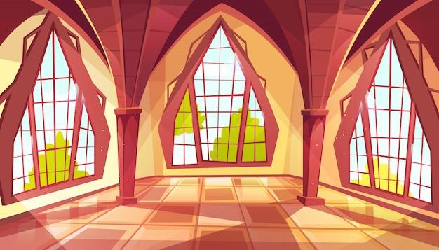 Sala da ballo con finestre a forma di illustrazione del palazzo reale gotico o camera reale