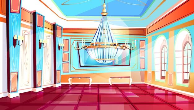 Sala da ballo con la grande illustrazione del candeliere del corridoio del palazzo con le colonne e il pavimento non tappezzato.