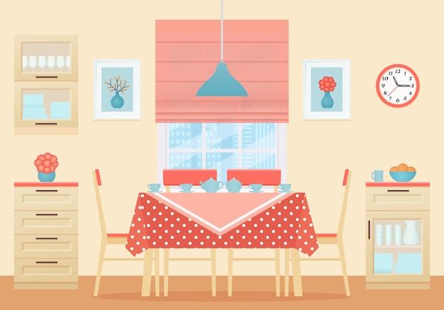 Sala da pranzo interna. illustrazione. design piatto.