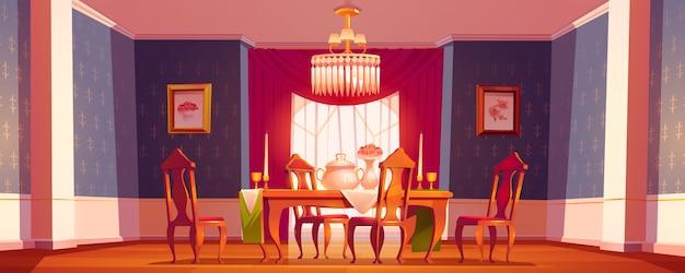 Sala da pranzo interna in classico stile vittoriano