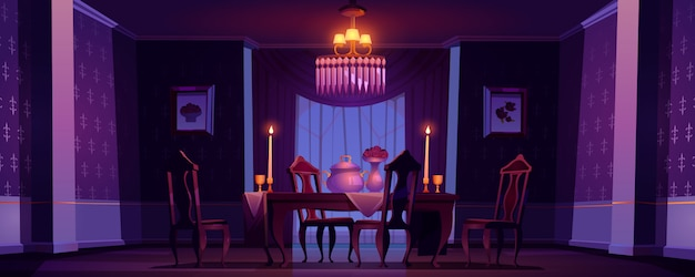 Sala da pranzo interna in stile vittoriano di notte