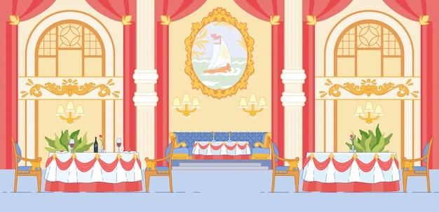 Sala decorata per banchetti del ristorante premium di lusso.