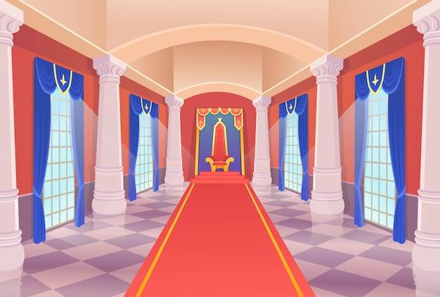Sala del castello con un trono re e finestre. corridoio del castello di vettore con un trono re e finestre. illustrazione di artoon.