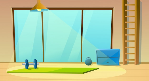 Sala fitness per finestra yoga e manubri