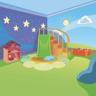 Sala giochi per bambini a casa con sfondo stile cartone animato