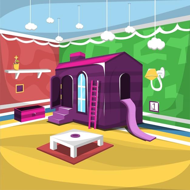 Sala giochi per bambini con giocattoli e scaletta di grandi dimensioni,
