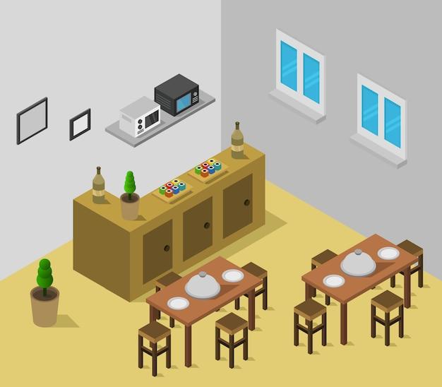 Sala ristorante isometrica