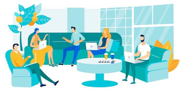 Sala riunioni di coworking dell'illustrazione di vettore piana.