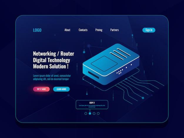 Sala server, concetto di trasferimento dati isometrico, router internet splitter, dati in entrata e in uscita