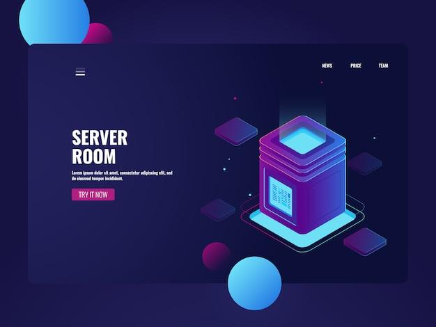 Sala server di rete e datacenter isometrici, archiviazione dati cloud, elaborazione di big data