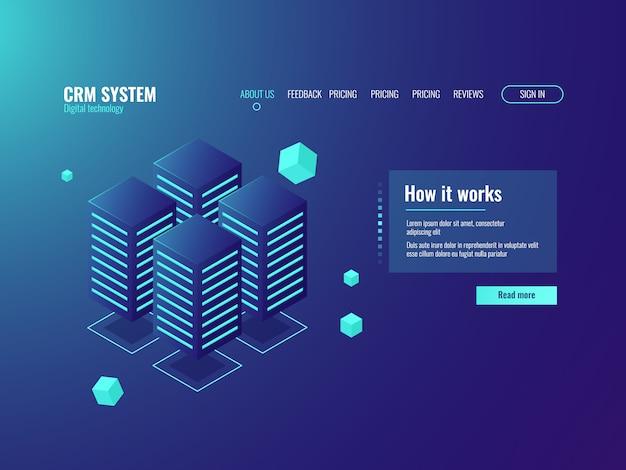 Sala server, icona di archiviazione cloud, centro informazioni, servizi di hosting, datacenter e database