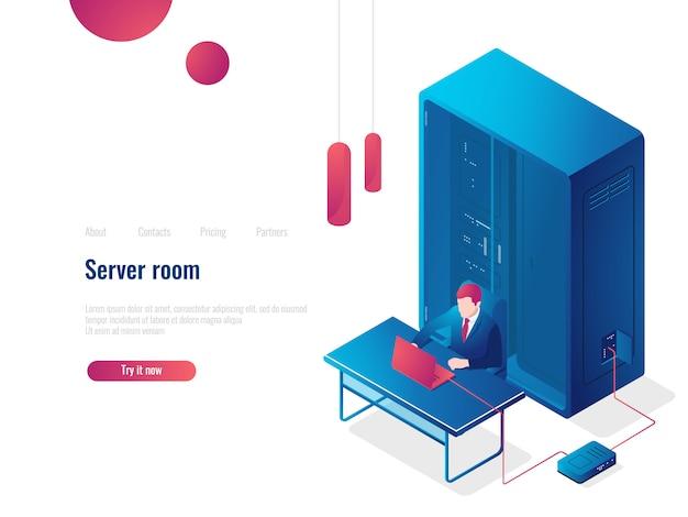 Sala server, icona isometrica di rete, pagina di destinazione dell'amministratore di sistema, archiviazione cloud del database