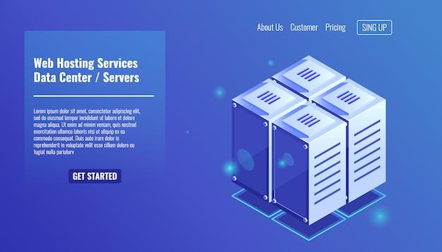 Sala server, icona rack isometrica, servizi di hosting del sito web