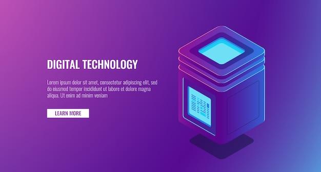 Sala server isometrica, concetto di protezione dei dati personali, elaborazione di grandi quantità di dati, icona del database