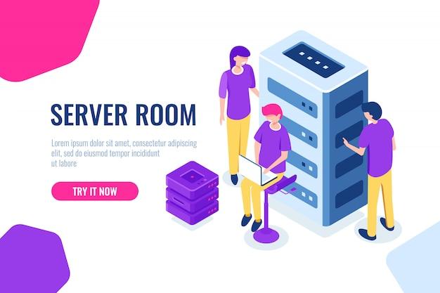 Sala server isometrica, datacenter e database, lavorando su un progetto comune, lavoro di squadra e collaborazione